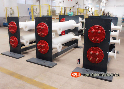 Shell Tube Heat Exchanger Water Cooling For Freezing Industries , Leather Chiller